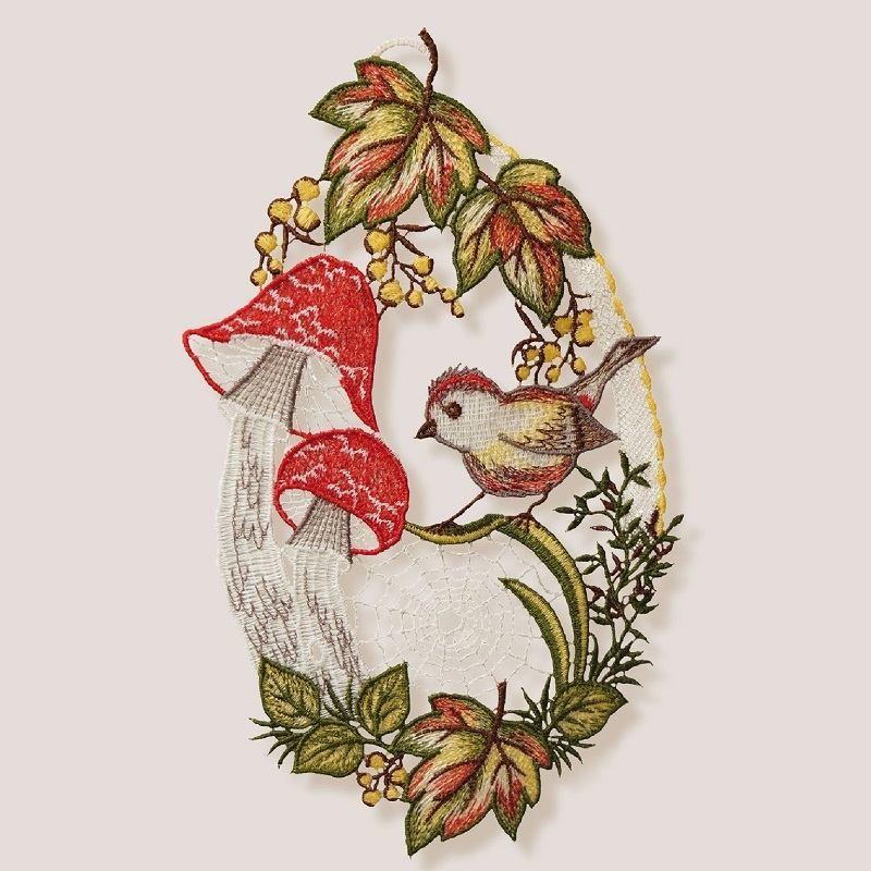 Textilná dekorácia na okno – Jesenný les 28 cm