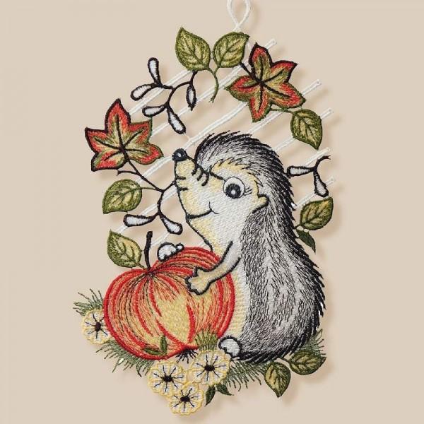 Textilná dekorácia na okno – Ježko s jablkom 27 cm