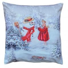 Vankúšová obliečka Snehuliak s dievčaťom 40x40 cm