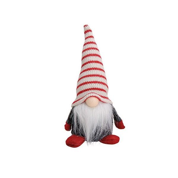 Vianočný škriatok Cukráčik s pruhovanou čiapkou 18 cm