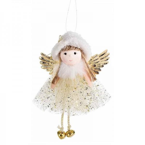 Anjelik s rolničkami – zlatý 15 cm