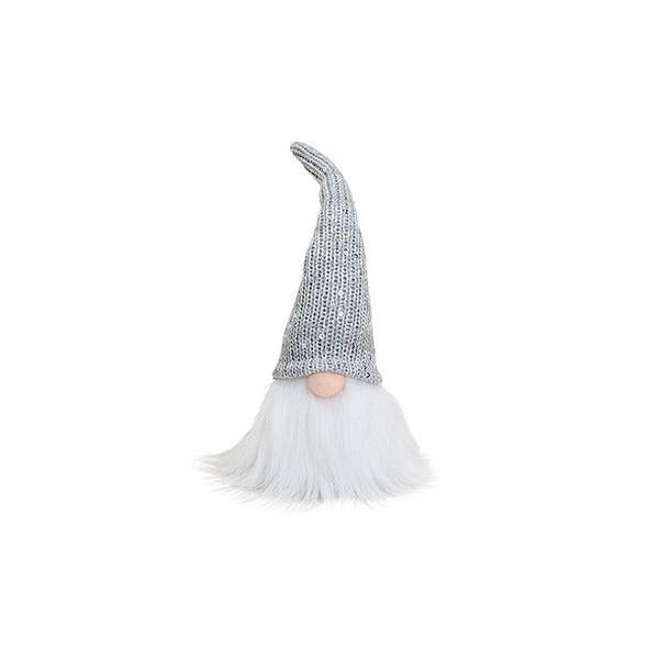 Vianočný škriatok s trblietavou striebornou čiapkou 25 cm