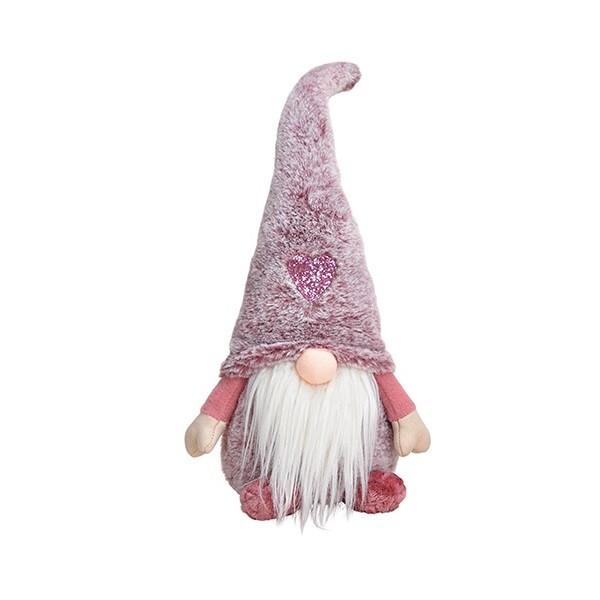 Vianočný škriatok – tmavoružový 45 cm